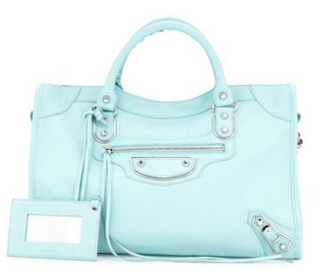 Balenciaga Metallic Edge City Bag, Blue