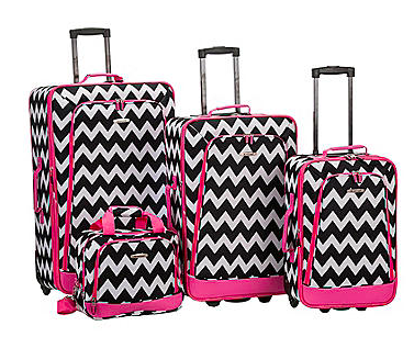 Rockland 4-pc. Pink Chevron Luggage Set