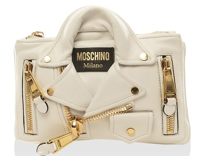 MOSCHINO Leather Motorcycle Jacket Motif Clutch, White