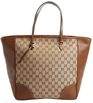 Gucci beige leather trim GG canvas tote