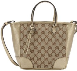 Gucci:  beige gg canvas and gold leather 'Bree' convertible satchel