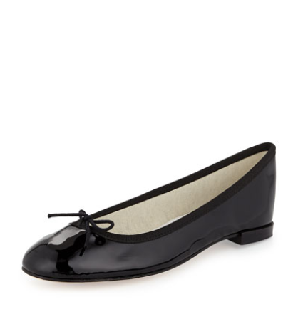 Repetto  Patent Leather Ballerina Flat with Bow, Black