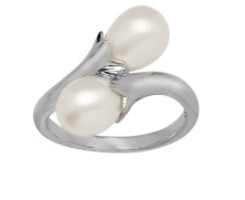 Pearl Bypass Ring Sterling Silver