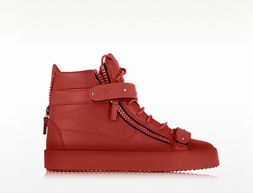 GIUSEPPE ZANOTTI Taylor Red Leather High Top Sneaker