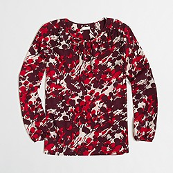 FACTORY PRINTED TIE-NECK BLOUSE