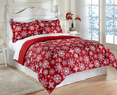 LivingQuarters Reversible Microfiber Down-Alternative Red Snowflake Comforter