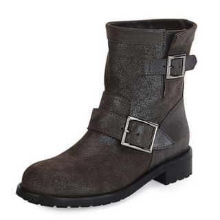 Jimmy Choo Youth Shimmer Suede Biker Boot, Gray