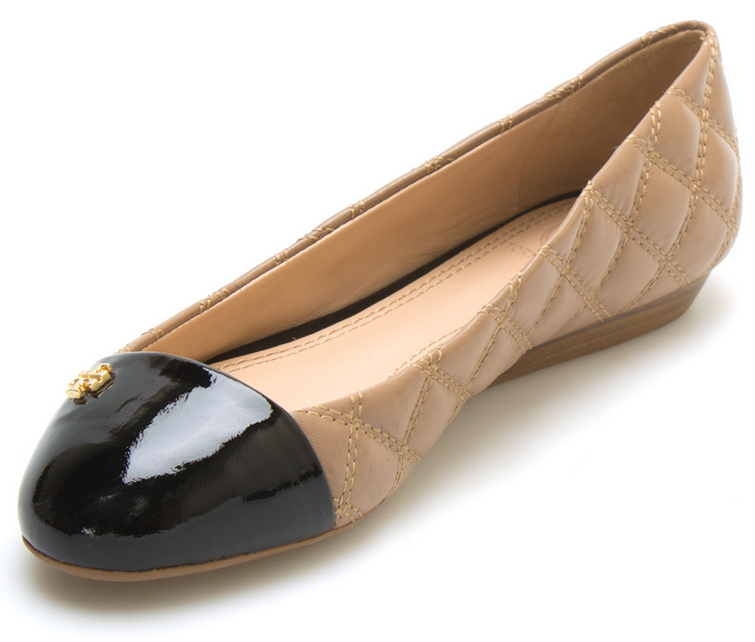 Clay Beige & Black Claremont Quilted Leather Flat