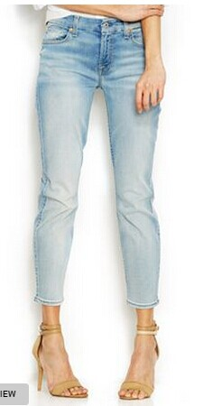 7 For All Mankind Cropped Straight-Leg Jeans, Slim Illusion Bright Ice Blue Wash
