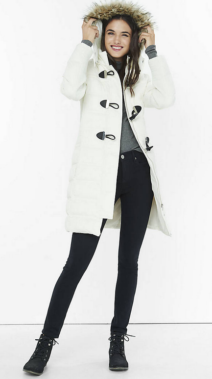 Long Down Filled Toggle Puffer Coat