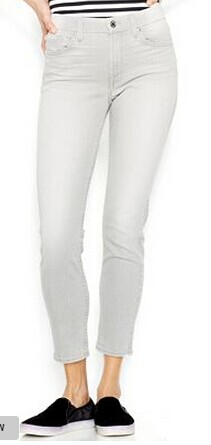 7 For All Mankind Skinny Cropped Jeans, Distressed Spring Grey Wash