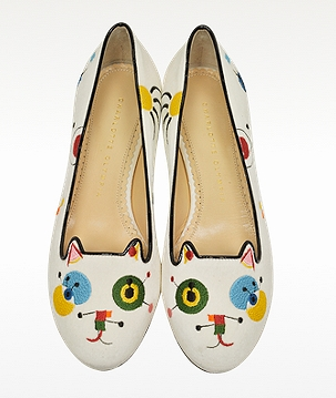 CHARLOTTE OLYMPIA Abstract Kitty Velvet and Patent Leather Loafer
