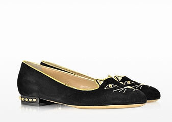 CHARLOTTE OLYMPIA Kitty Studs Suede and Patent Leather Loafer