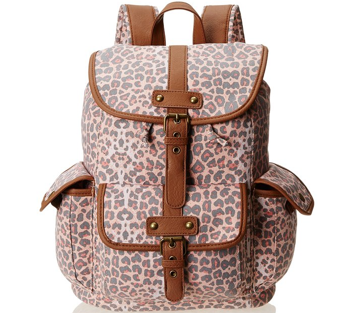 Wild Pair Printed Canvas Backpack With Faux Leather Trim,Blush