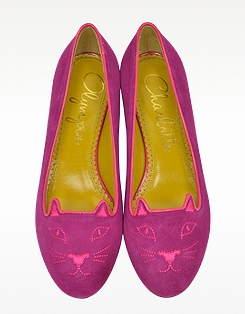 CHARLOTTE OLYMPIA Perfect Purple Suede Kitty Flats