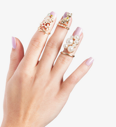 Cat and Flowers Nail Ring Set