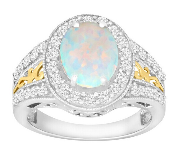 2 3/4 ct Opal & White Sapphire Ring