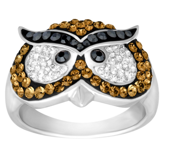 Owl Ring with Swarovski Crystals