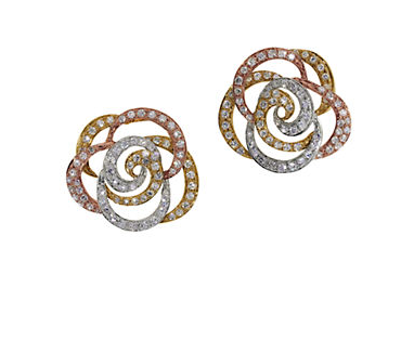 EFFY Diamond and 14K White, Yellow and Rose Gold Flower Stud Earrings, 0.61TCW