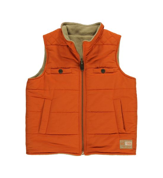 Reversible Orange Fleece Woven Vest