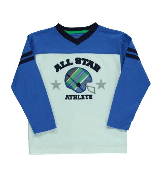 Long Sleeved Blue & White All Star Athlete Top