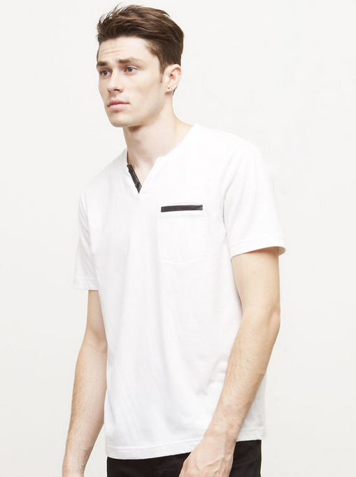 Short-Sleeve Henley with Faux-Leather Trim   Kenneth Cole