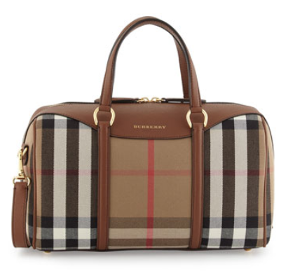 Burberry Alchester House Check Medium Derby Satchel Bag, Tan