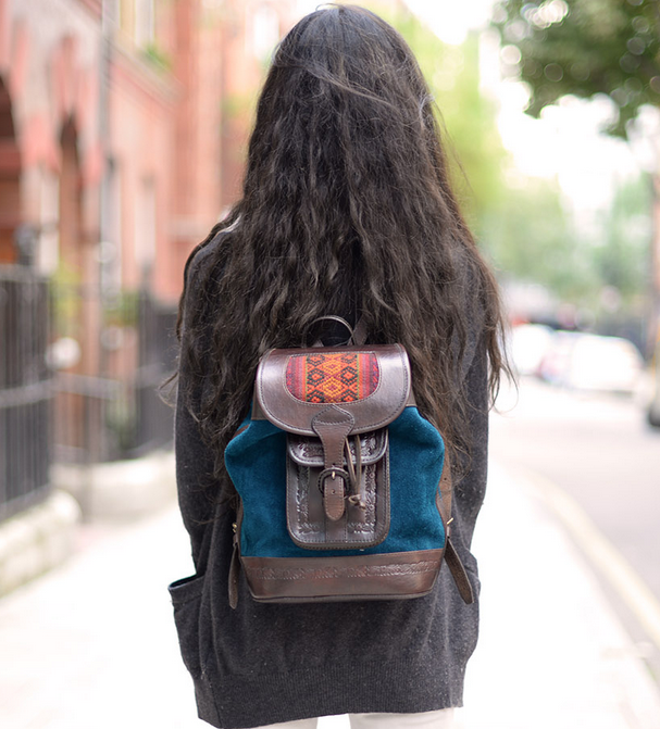 Small Teal Leather Backpack