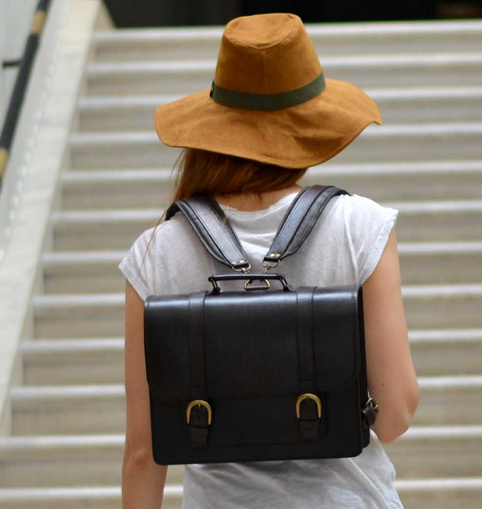 Small Leather Satchel Backpack