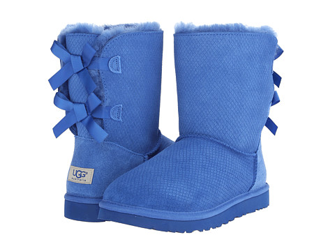 UGG Bailey Bow Exotic Scales Marine Blue Suede - 6pm.com