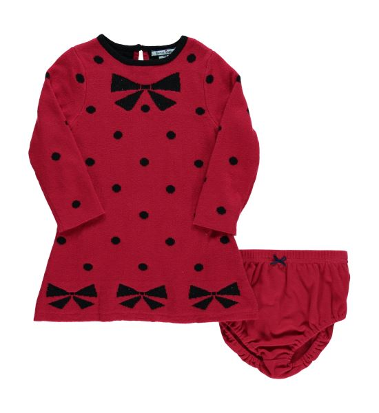 Infant Black Bows Polka Dot Sweater Dress
