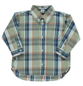 Infant Long Sleeved Brown Plaid Button Down Shirt