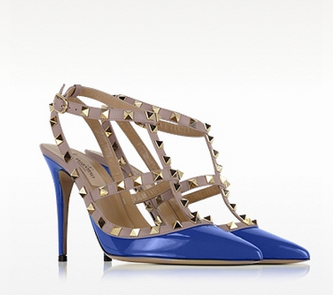 VALENTINO Rockstud Light Sapphire & Powder Leather Ankle Strap Pump