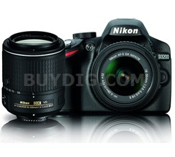 Nikon D3200 24.2 MP DSLR Dual VR Lens Kit +18-55mm and 55-200mm 双镜头套装