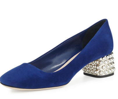 Miu Miu Decollete Suede Jewel-Heel Pump, Navy