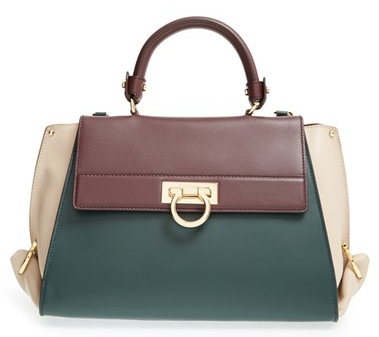 Salvatore Ferragamo 'Sofia' Colorblock Leather Satchel