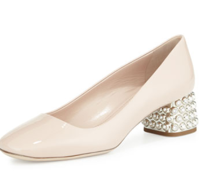 Miu Miu Decollete Patent Jewel-Heel Pump, Nude