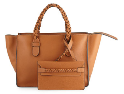 Valentino T.B.C. Braided Small Tote Bag, Brown