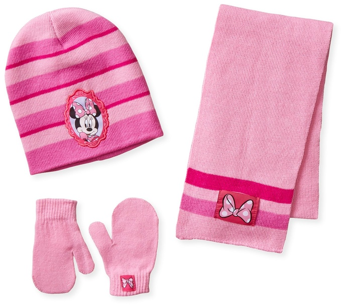 Berkshire Little Girls' 3 Piece Minnie Mouse Stripes Hat Mitten and Scarf Set