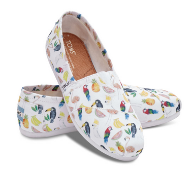 White Canvas Printed TOMS 女士布鞋