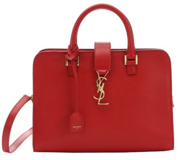 Saint Laurent red leather small 'Cabas Monogram' convertible tote | BLUEFLY