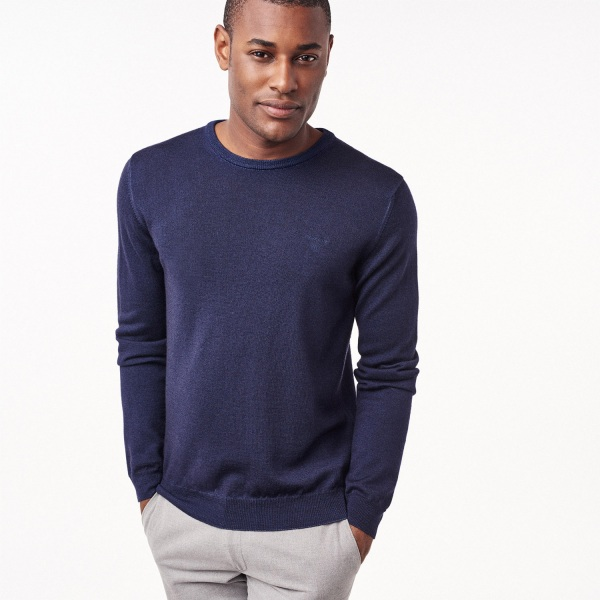 GANT Men's Washed Merino Wool Crew Sweater Classic Blue   Official Site