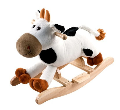 Trademark Happy Trails Plush Rocking Connie Cow With Sounds, Black/White