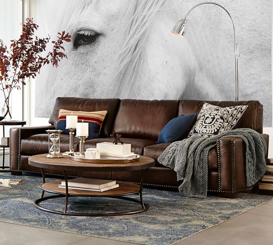 TURNER LEATHER SQUARE ARM SOFA WITH NAILHEADS
