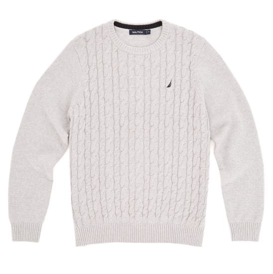 Cable Knit Crew-Neck Sweater - Port Scarlet   Nautica