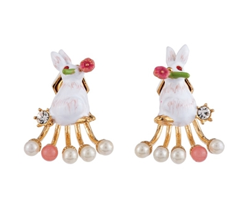 FANTASY GARDEN RABBIT AND PEARL EARRINGS