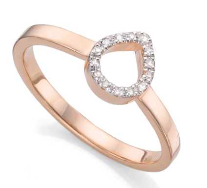 Naida Mini Lotus Open Ring in 18ct Rose Gold Plated Vermeil on Sterling Silver with Diamond