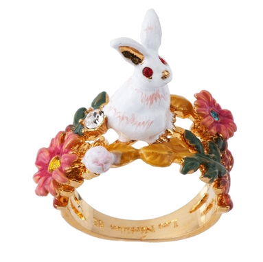 FANTASY GARDEN RABBIT AND FLOWER RING