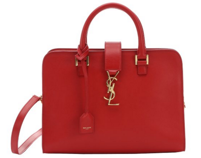 SAINT LAURENT Red Leather Small 'Cabas Monogram' Convertible Tote