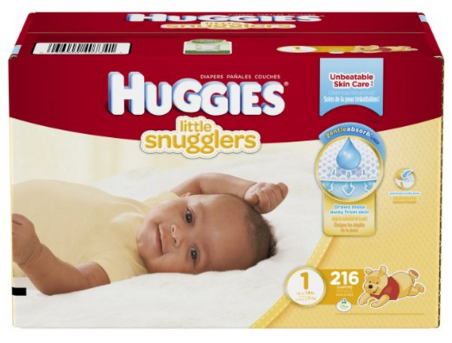 Huggies Little Snugglers Diapers, Size 1, 216 Count